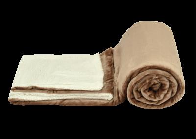 Mikroplyšová deka s beránkem - Hnědá