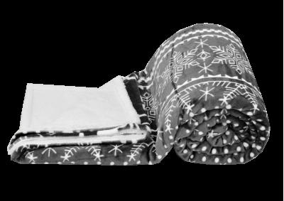 Mikroplyšová deka s beránkem - Vánoční šedivá