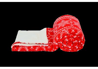 Mikroplyšová deka s beránkem - Vánoční červená
