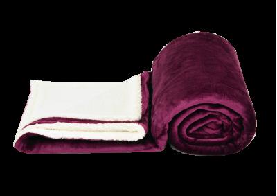 Mikroplyšová deka s beránkem - Borůvková