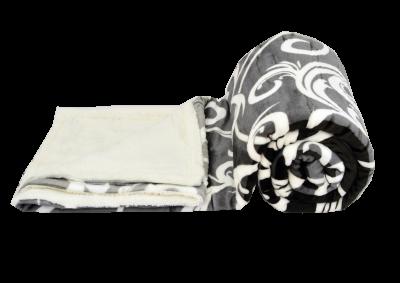 Mikroplyšová deka s beránkem - Šedo bílý ornament