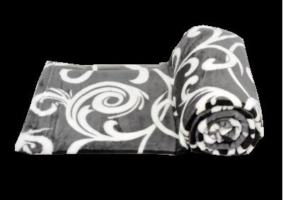 Mikroplyšová deka - Šedo bílý ornament