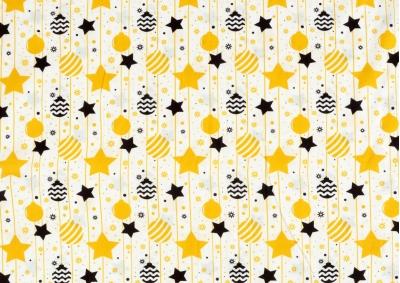 Vánoční žluté a černé ozdoby bavlna  metráž