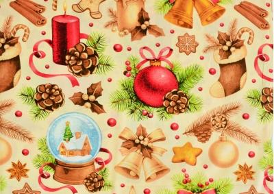 Vánoční motiv bavlna  metráž