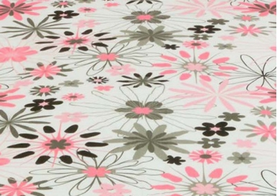 Bílá s růžovými kvítky bavlna  metráž