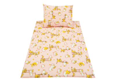 Medvídek na žebříku růžový (dětská bavlna)