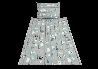 Zvířátka na šedivém - tyrkys (dětská bavlna)