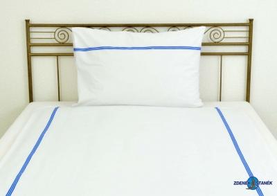 Ložní povlečení bavlna LUX Bílá s modrým pruhem