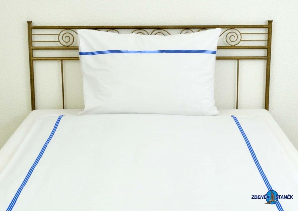 Ložní povlečení bavlna LUX Bílá s modrým pruhem 160g/m2