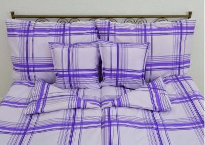 8-dílné povlečení s polštářky Fialový proužek (bavlna LUX)