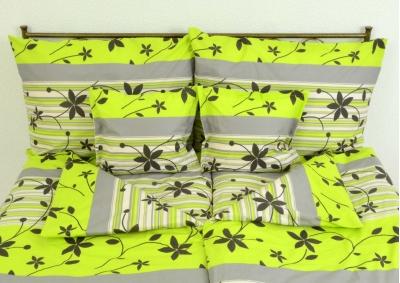 8-dílné povlečení s polštářky Zelenošedivé kvítky (bavlna LUX)