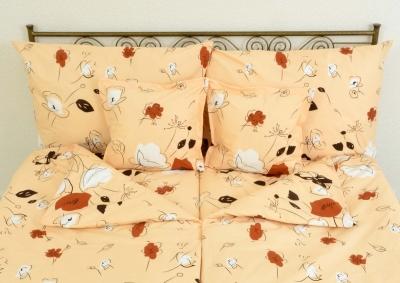 8-dílné povlečení s polštářky Béžová s hnědými a bílými kvítky (bavlna LUX)