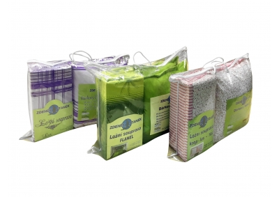 8-dílné krepové povlečení s polštářky Béžová s fialovou kostkou (Krep)