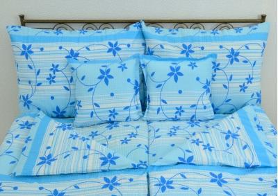 8-dílné krepové povlečení s polštářky Modré Kvítky  (Krep LUX )